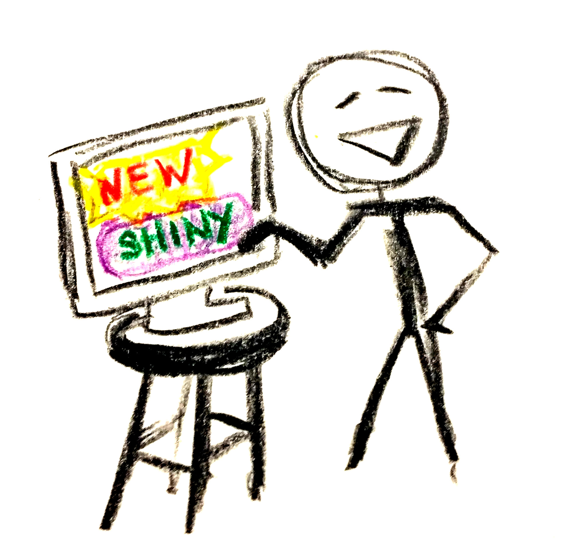 Stick figure posing next to a monitor that says new and shiny.
