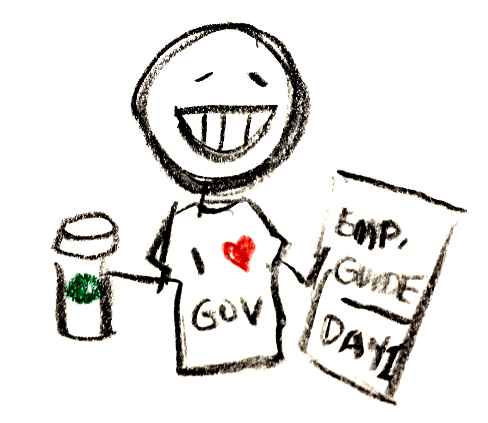 Stick figure of a person with an I heart gov shirt and a coffee cup.