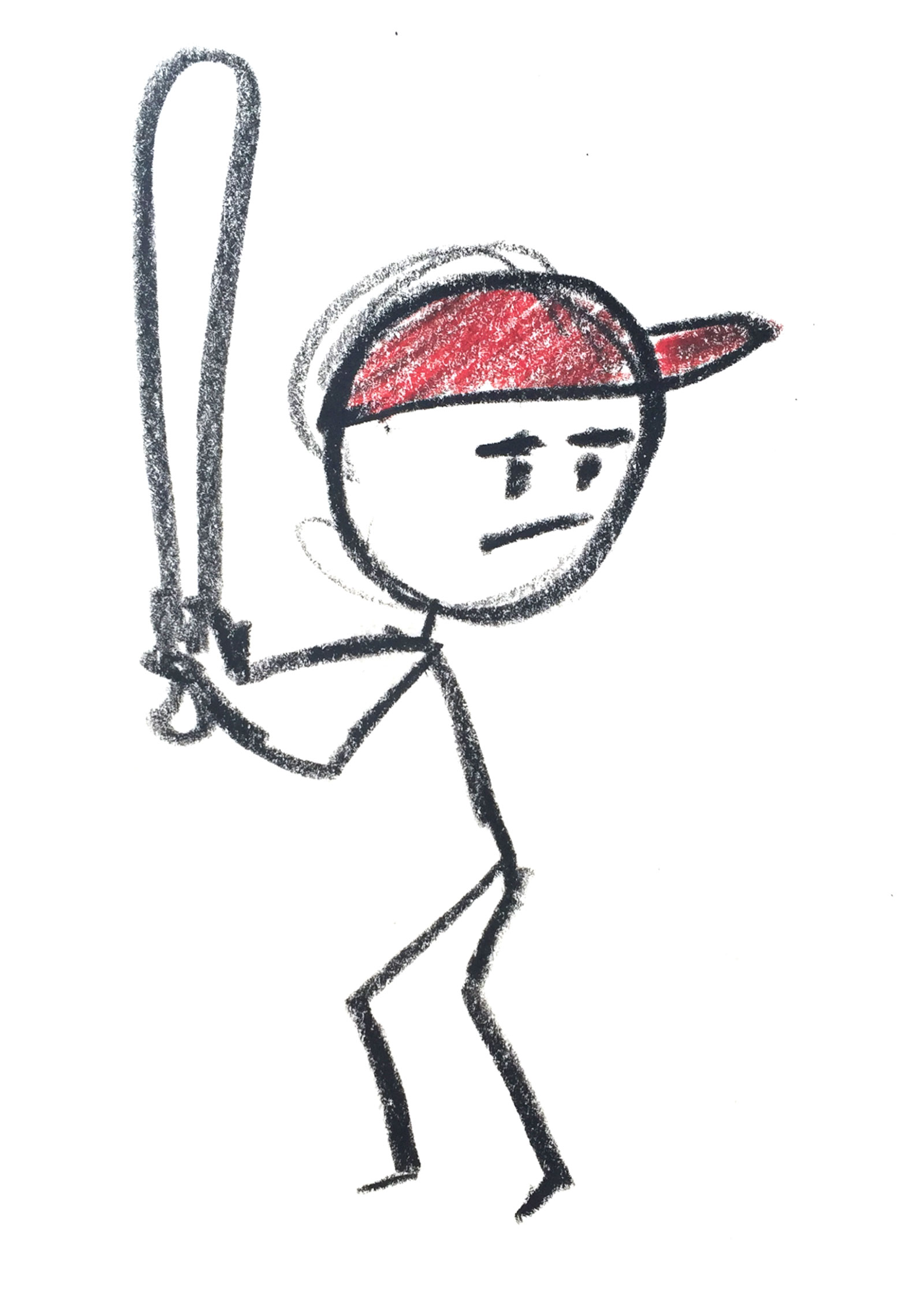 Stick figure with a baseball bat.