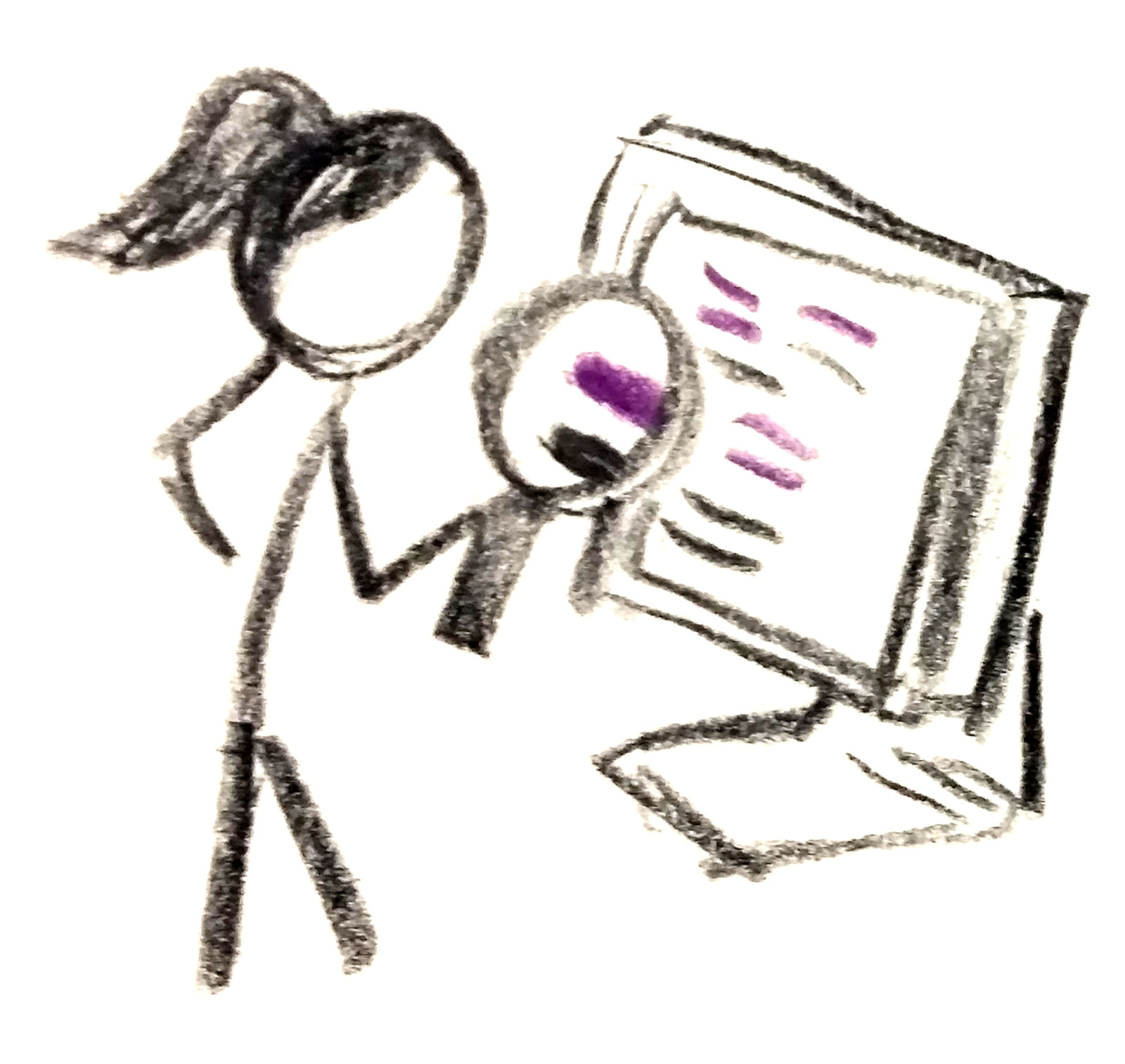 Stick figure looking at a website with a magnifying glass.