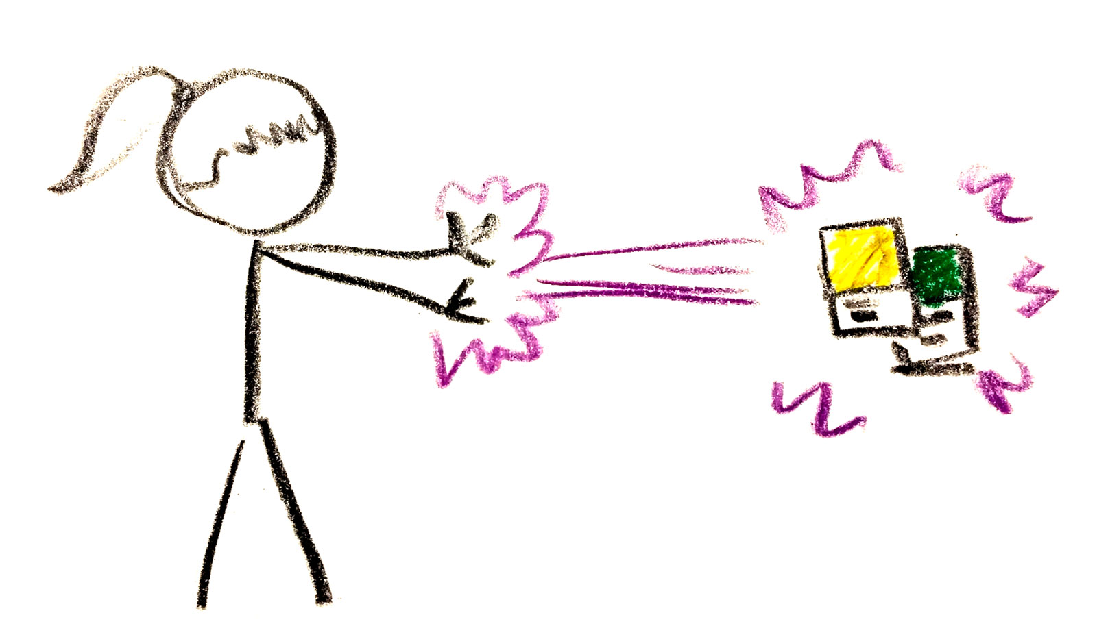 Stick figure zapping two Pantone chips.